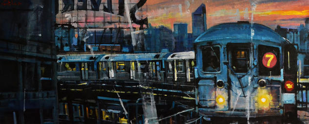 NYC Train Paisaje Óleo Lienzo