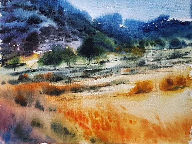 tierras de toledo verano Landscaping Watercolour Paper