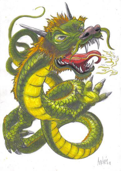 dragon 1 Media Mixta Papel Otros