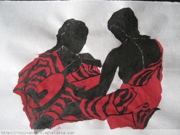 mujeres en negro y rojo Tinta