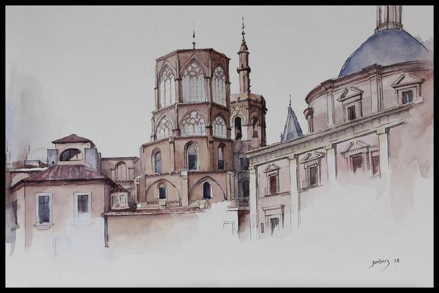 Catedral de Valencia Paisaje Acuarela Papel