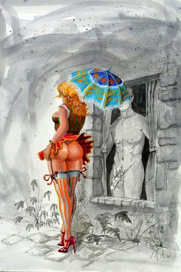 OH! CE MISTRAL ! Gouache Desnudos Papel