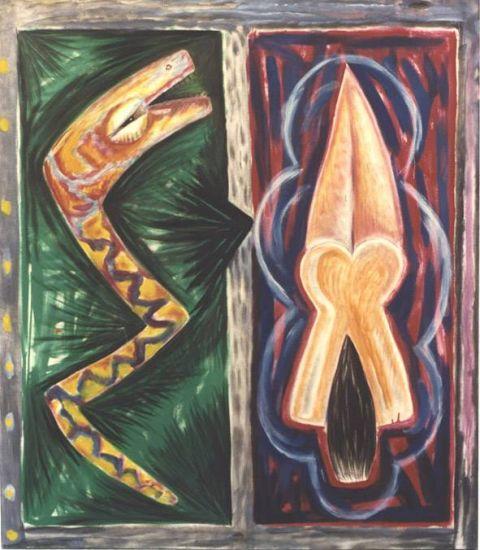 mujer y serpiente Óleo Tela Retrato