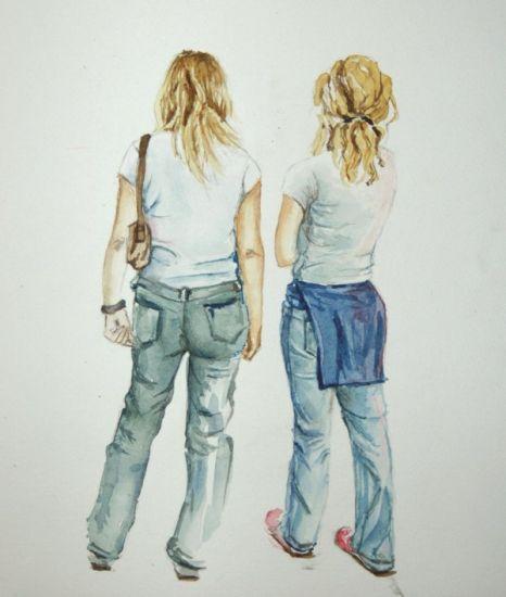 Dos amigas Acuarela Papel Paisaje