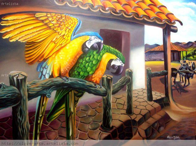 GUACAMAYAS AZULES Oil Canvas Landscaping