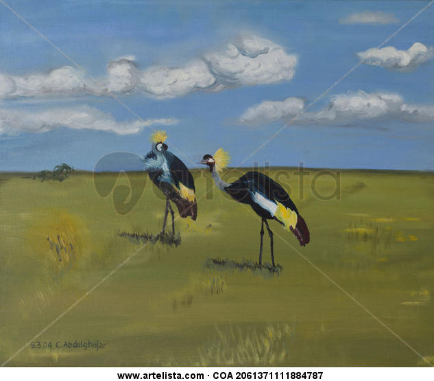 Royal Cranes Animales Óleo Lienzo