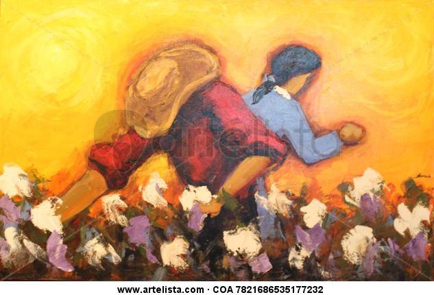 Cosechero Figure Painting Oil Canvas