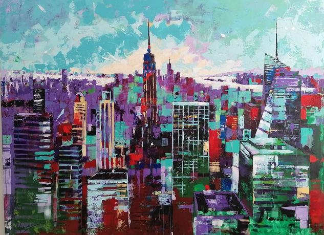 color Bomb New York  Paisaje Acrílico Lienzo