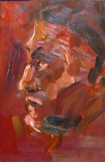 Retrato en Rojo Óleo Tabla Retrato