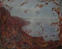 Paisaje Migratorio con lago I Lienzo Óleo Paisaje