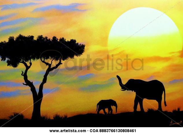 Africa Animales Grafito Cartulina