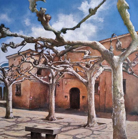 Plaza de Viriato-Zamora Landscaping Oil Canvas