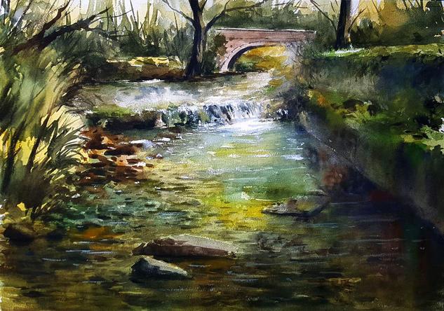 el puente de deva Landscaping Watercolour Paper