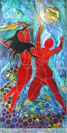 Dancing in the water De vidriera Cristal Desnudos