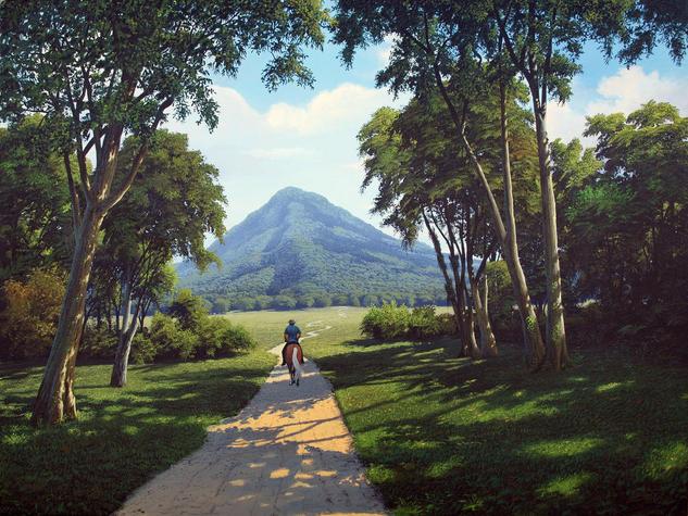 Camino al Cerro Lienzo Acrílico Paisaje