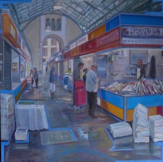 Market 2. Lienzo Óleo Otros