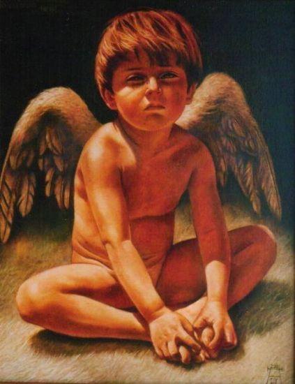 QUERUBIN (Homenaje a la memoria de mi hijo) Óleo Lienzo Figura
