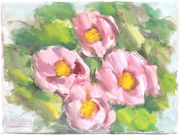 Rosas cor de Rosa Lienzo Paisaje Óleo