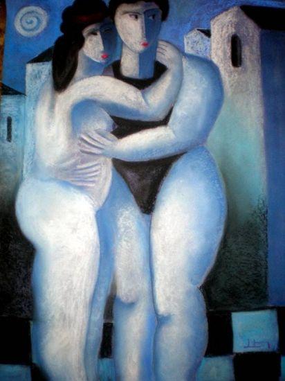 parella en blau