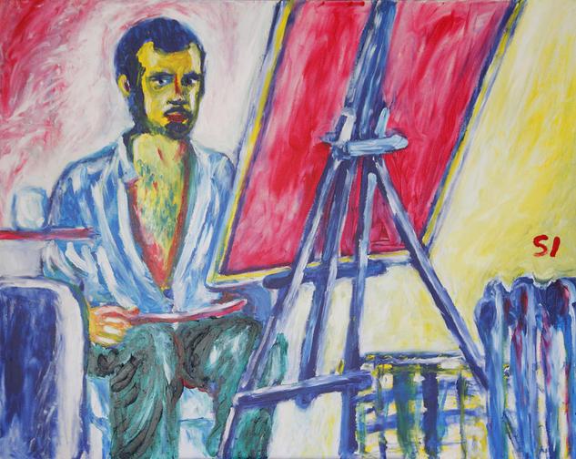 Autorretrato frente al espejo en el mirador Lienzo Acrílico Retrato