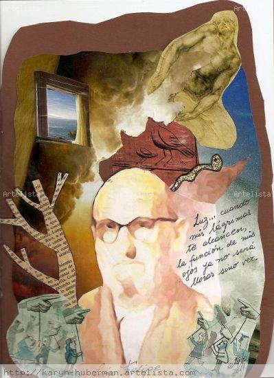 Recordando a León Felipe Cartulina Retrato