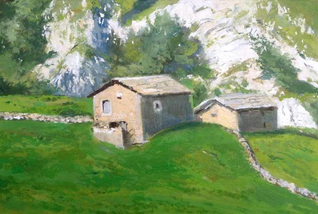 Cabañas Pasiegas en Cantabria Lienzo Óleo Paisaje