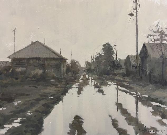 agua y fango Lienzo Óleo Paisaje