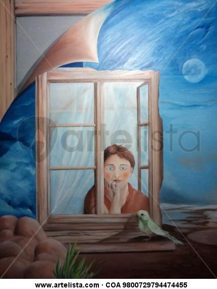 Minha Mãe Amassa o Pão - janela Figura Óleo Lienzo