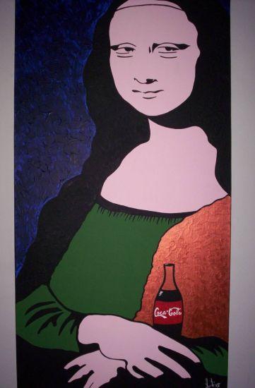 Gioconda Tomando Coca Cola Acrílico Lienzo Retrato
