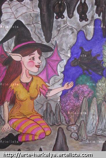 Bruxinha y los murciélagos Acuarela Cartulina Retrato