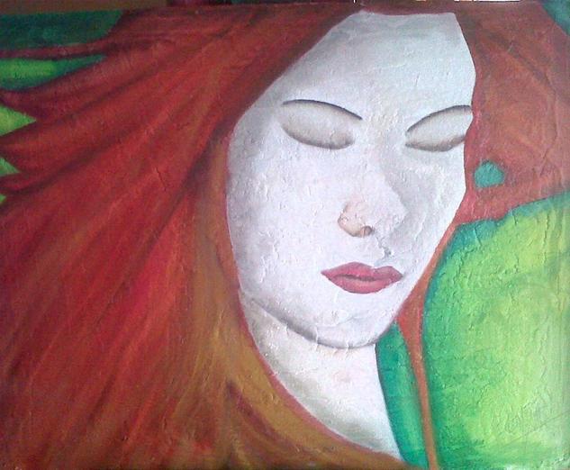 pelo rojo Lienzo Óleo Retrato