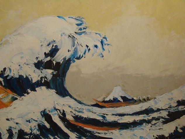 La Gran Ola de Kanagawa (D'apres) Óleo Tabla Marina