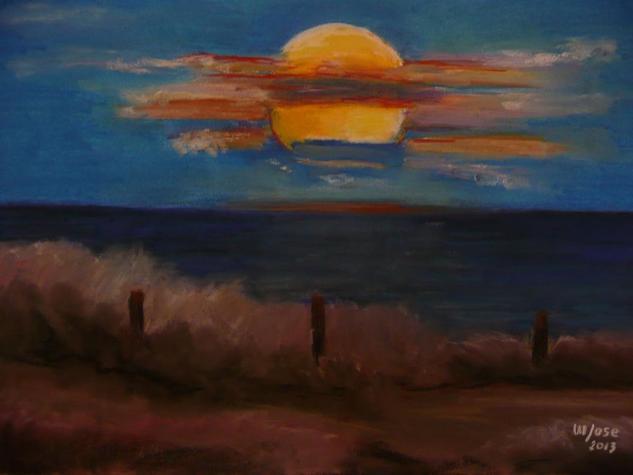 Luna llena sobre el mar Papel Pastel Marina