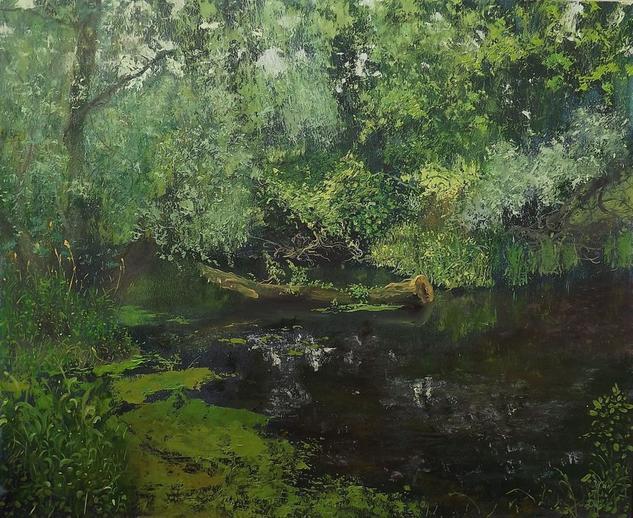 Olhovka river. Not far from my home Paisaje Óleo Cartulina