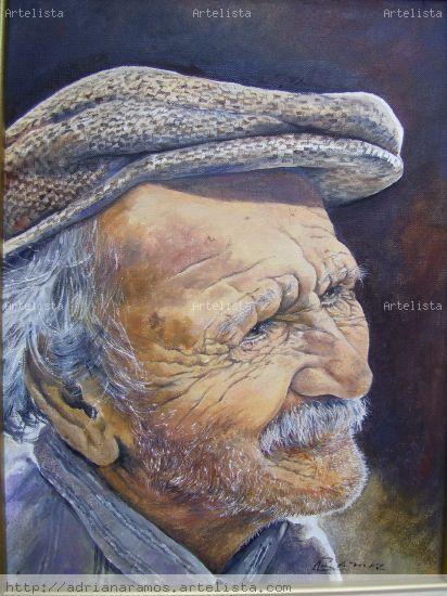Viejo Lienzo Óleo Retrato
