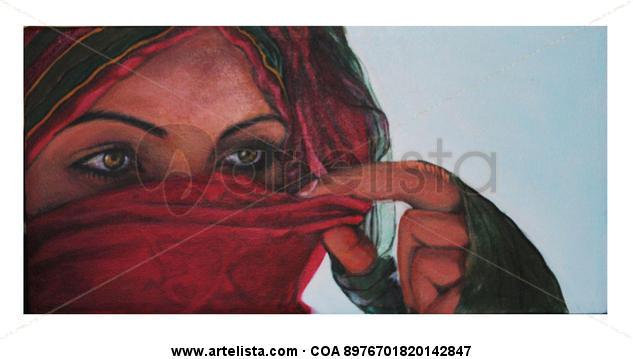 Mirada Roja Tela Acrílico Retrato