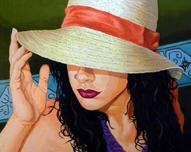 Gal with Hat Canvas Acrylic Portrait