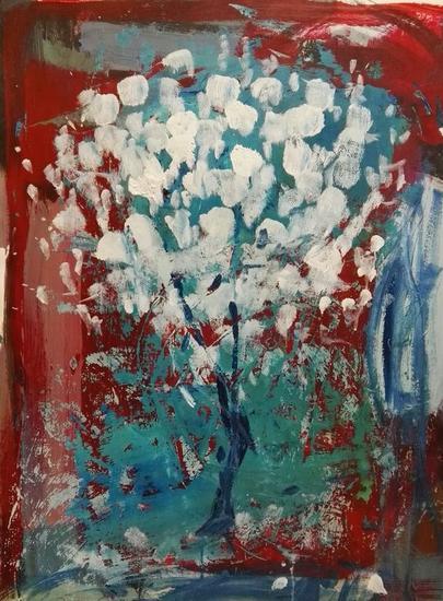 SUPERPOSICIÓN 3 Papel Acrílico Floral