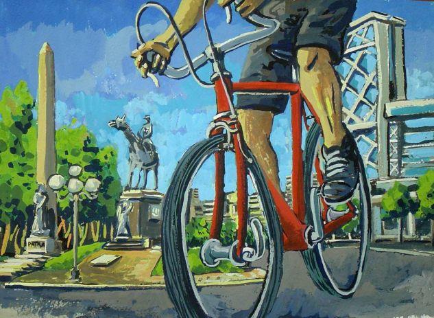 Bici roja Gouache Papel Paisaje