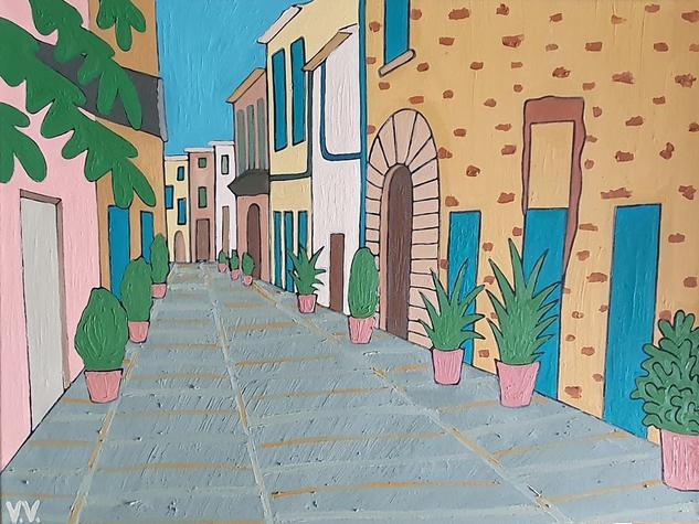 Una calle de Mallorca Paisaje Óleo Lienzo