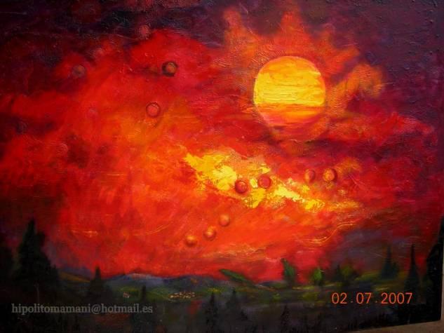 atardecer sangriento /Bloody sunset./Coucher du soleil sanglant/blutroter Sonnenuntergang Óleo Lienzo Paisaje