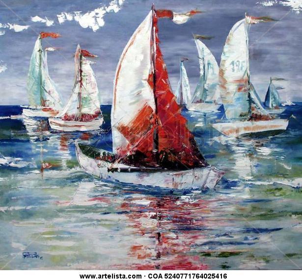 Paqui Millán: regata Canvas Oil Marine Painting