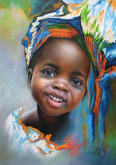 Niña de Africa 94 Retrato Acrílico Lienzo