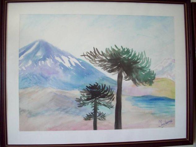 Volcán y Pehuen en La Araucanía Cartulina Acuarela Paisaje