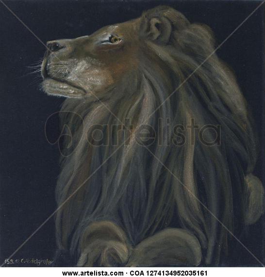 Proud lion Animales Óleo Tela