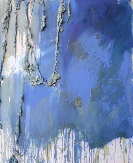 azul intenso Media Mixta Paisaje Lienzo