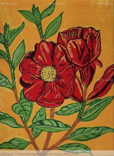 Flores de Granada Otros Acrílico Floral