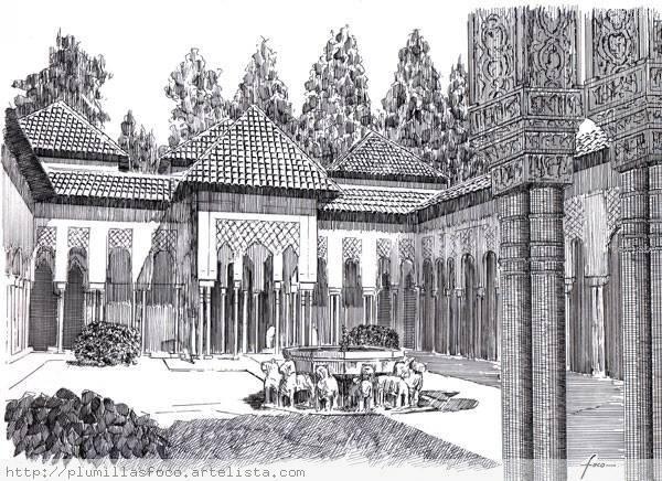 Patio De Los Leones La Alhambra De Granada Espana Fernando Ortuno
