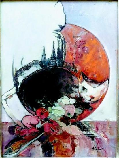 Chats avec jardin de clair de lune de Debussy Animales Óleo Tabla