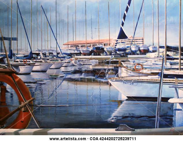 Puerto Snt. A. de la Playa Canvas Oil Marine Painting